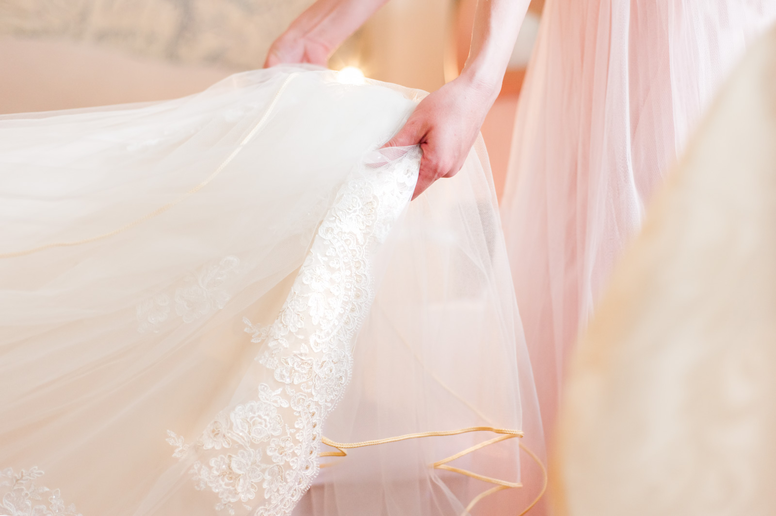 Close up of bridal gown