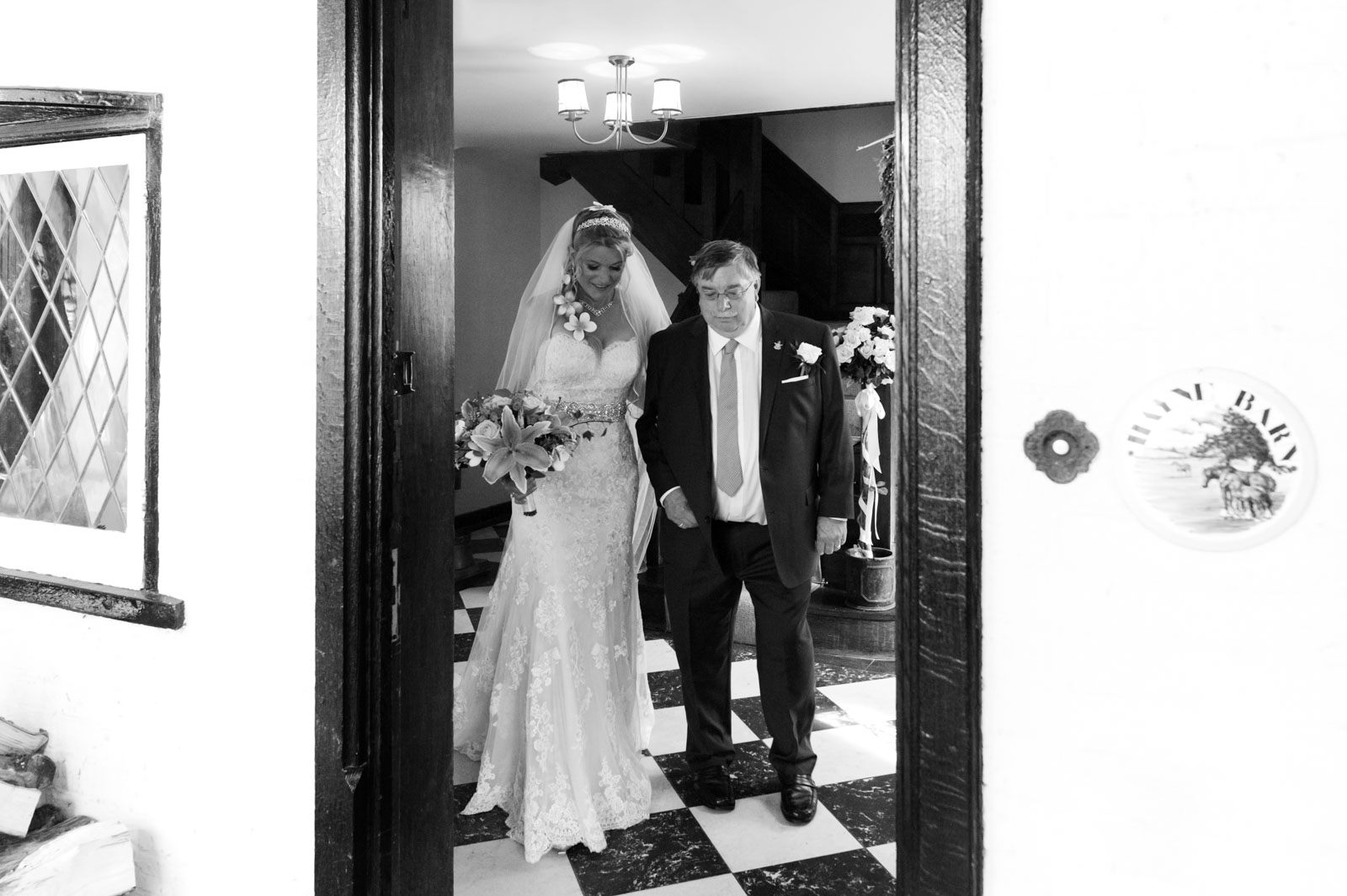 Bride with father at Hayne house wedding