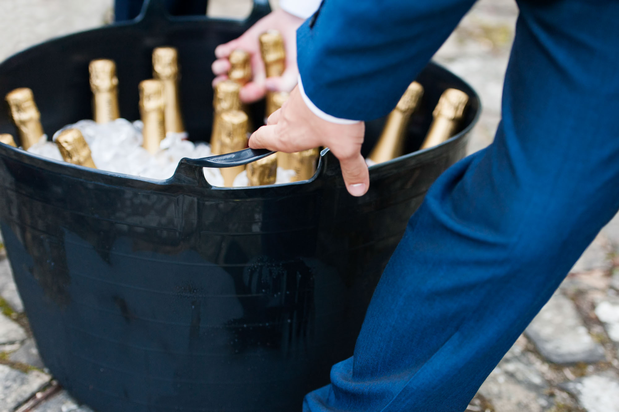 Close up of champagne bottles at wedding