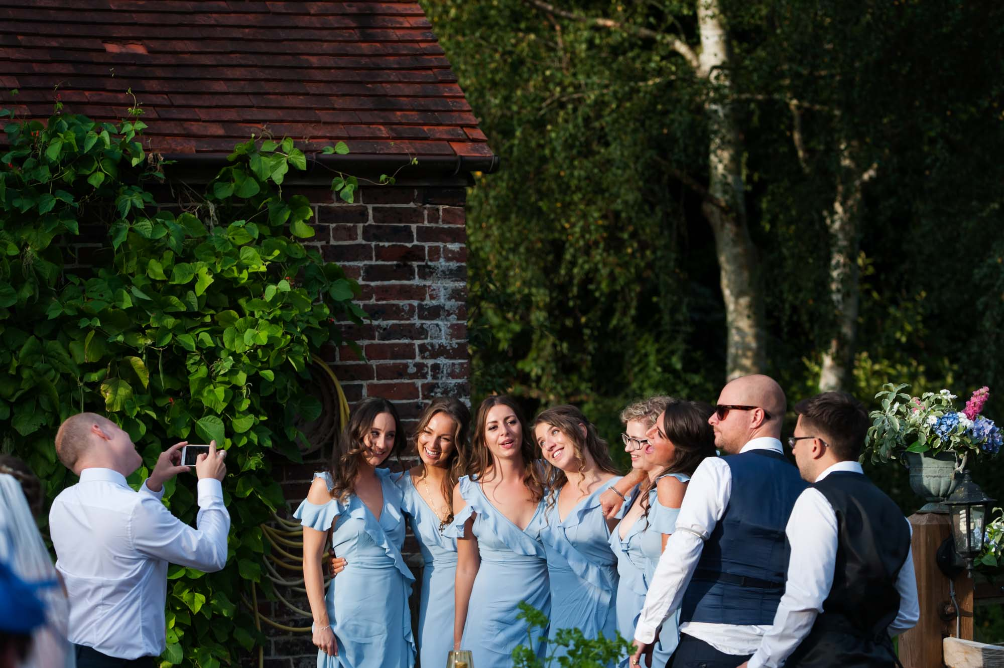 Bridesmaids lining up for pictures