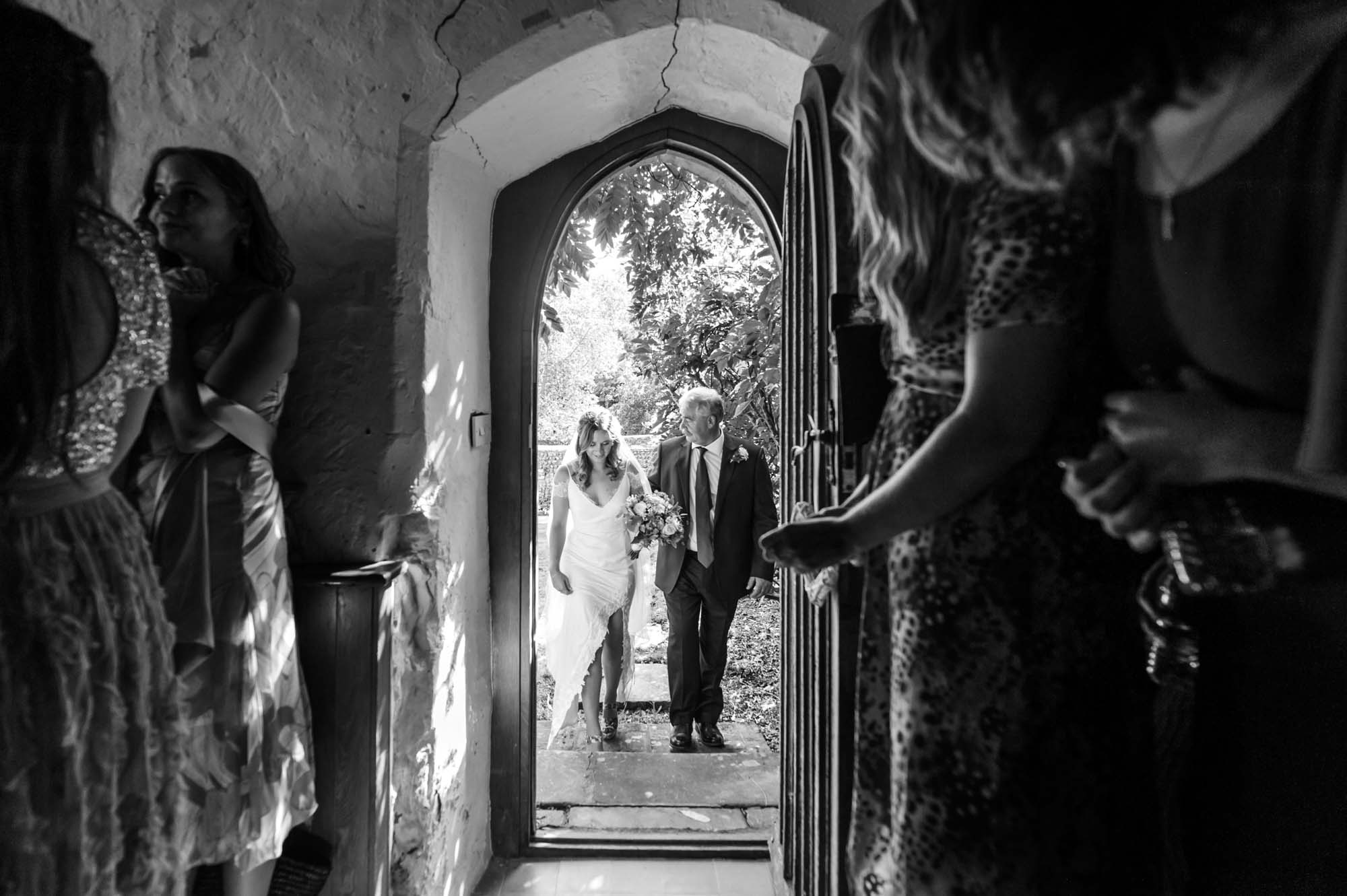 Bride and father at Otham Court wedding