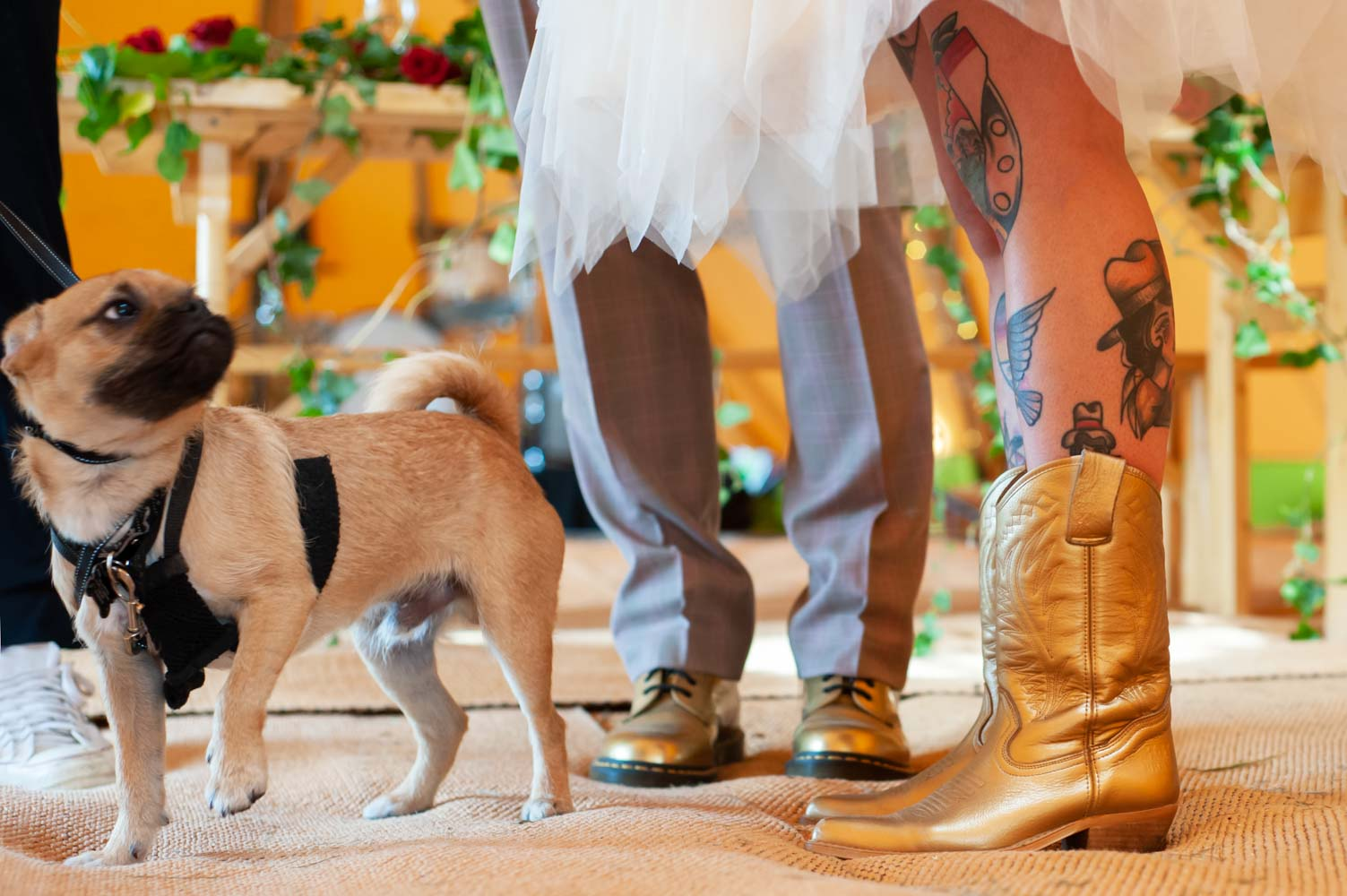 Bride and grooms gold shoes by alternative sussex wedding photographer James Robertshaw