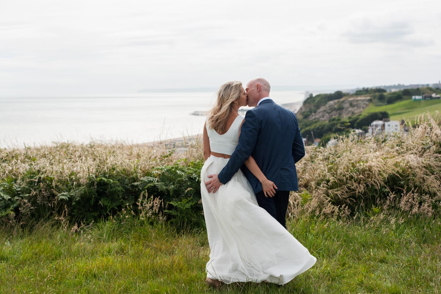Bride and Groom on East Hill in Hastings